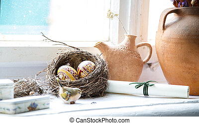 Nest egg Easter Still clay pots