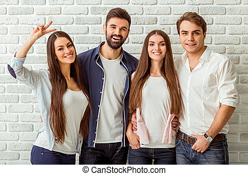 Group of young people - Group of four young beautiful people...