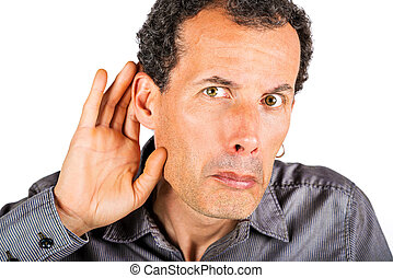 man cupping hand behind ear on white background - cant hear...