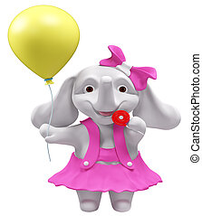Elephant with lollipop and balloon - Baby elephant with...