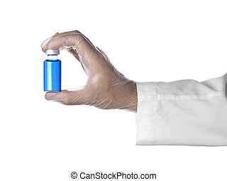 Blue vial - A doctor holds a vial full of blue liquid with...