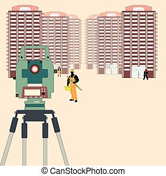 Surveying in Construction - The geodetic device on a...