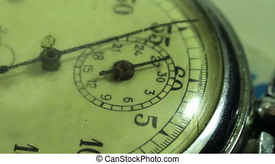 Vintage dial stopwatch - Close up of an antique stopwatch,...