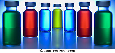 Row of vials - Two rows of vials filled with colored...