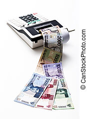 Indonesian rupiah money come out from calculator