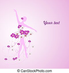 Beautiful background with tender ballerina in flower dress and place for your text.