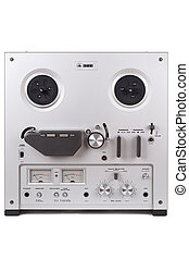 Analog Stereo Reel Tape Deck Recorder Player over white