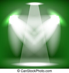 Stage Spotlight Background - Spotlights Isolated on Green...