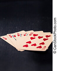 Royal Flush cards in heart, vintage style colors - Cards...