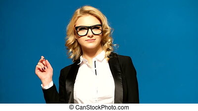 pretty businesswoman  on blue