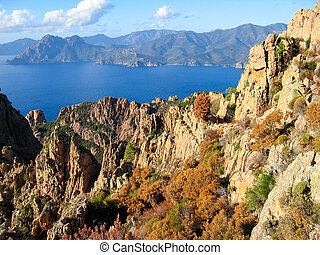 View of Calanques de Piana. Corsica, France. - Mountain and...