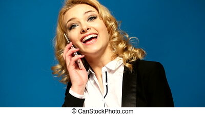 sexy secretary business woman using her mobile phone