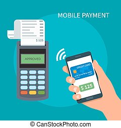 Mobile payments with smartphone. Payment terminal concept....