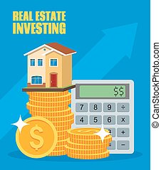 Property Investment concept. House and real estate money investment. Dollar symbols, design elements.
