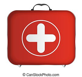 Red Medical Bag with a Cross Vector Illustration EPS10