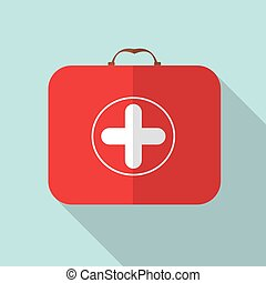 Red Medical Bag with a Cross in Modern Flas Design with Long...