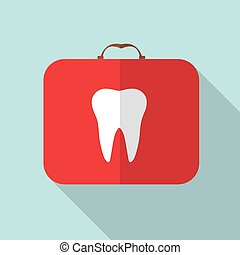 Red Medical Bag with a Tooth Sign, Long Shadow Vector Illus