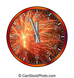 Red clock with fireworks - Hours five twelve sky with...
