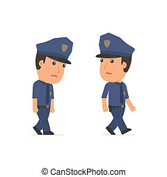 Sad and Frustrated Character Officer goes and drags. for use...