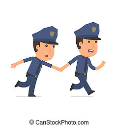 Happy and Joyful Character Officer runs and drags his friend...