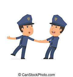 Funny and Cheerful Character Officer drags his friend to...