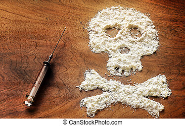 Drug powder cocaine in silhouette of the skull