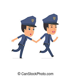 Happy and Joyful Character Constabulary runs and drags his...