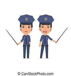 zangado, e, triste, personagem, constabulary, fazer,...
