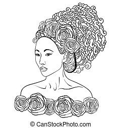 Hand-drawn vector illustration  of a asian beautiful women with doodle hair and roses
