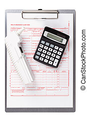 health insurance claim form with thermometer
