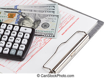 health insurance claim form with calculator and dollar