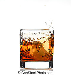 Whiskey splash studio isolated on white background