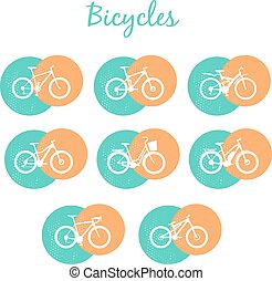 Modern Bicycles Set - Set of various sport, city and...