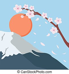 snowy mountain fuji sakura flower fall japan sun - snowy...