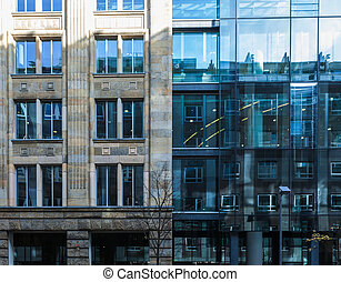 Two exterior facades of commercial buildings in Frankfurt,...