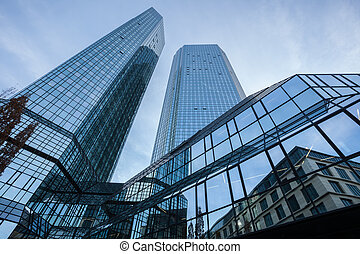 Modern glass architecture in Frankfurt, Germany with two...
