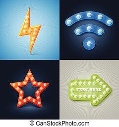 Set of Vector retro icons