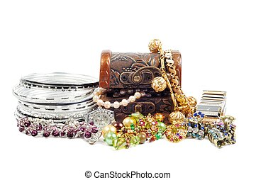 Accessory and jewels - Accessory and gold jewelry in silver...