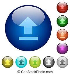 Color upload glass buttons - Set of color upload glass web...