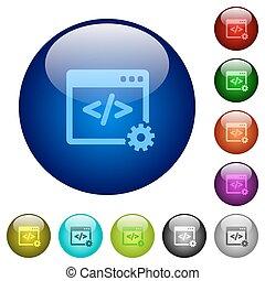 Color web development glass buttons - Set of color web...
