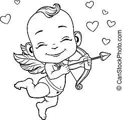 Lovely Cupid with bow - Black and white vector illustration...