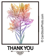 Vector floral background or card with flowers. Thank you. EPS10