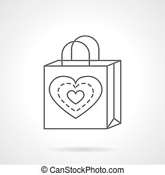 Valentines Day shopping bag flat line vector icon