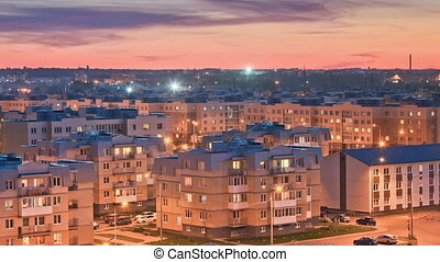 Evening suburban area, timelapse, sunrise, glowing Windows,...