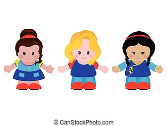 Three funny little girls of different nationalities. Vector...