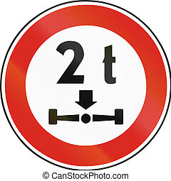 Road sign used in Slovakia - Axle load limit