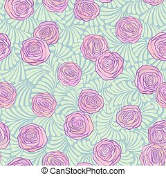 Seamless pattern with pink roses on cute curls in soft...