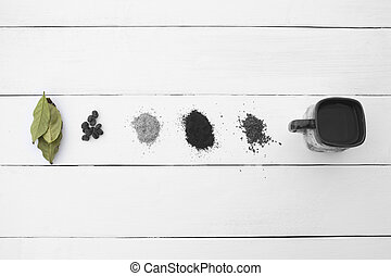 Creative eye. Different types of coffee on a white...