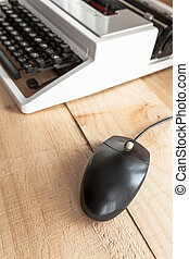 the typewriter and mouse - The image shows an antique...
