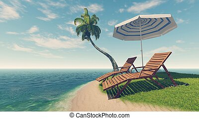 Deck chairs, parasol and palm tree on tropical beach - Two...